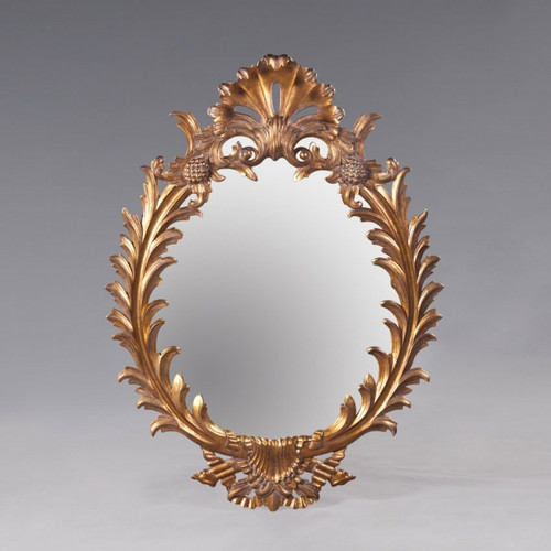"A Rocaille Louis XIV French Baroque Period - 60"" Handcrafted Reproduction Oval Wall, Buffet, Mantel, Console Mirror - Gold Luxurie Furniture Finish NF9, 6452"