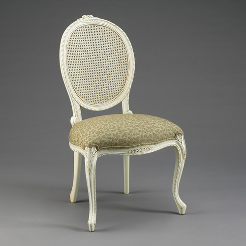 A Transitional Oval Back with Cane | Rattan - 37.25 Inch Handcrafted Reproduction French Dining | Accent Side Chair - Upholstery and Painted White Luxurie Furniture Finish PWH