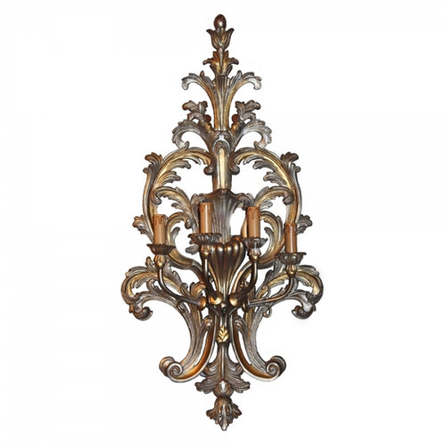 An Acanthus Wooden Ornamental 4 light - 38 Inch Handcrafted Reproduction Wall Bracket Sconce - Metallic Luxurie Furniture Finish NF15