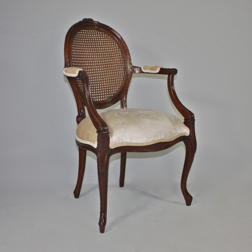 A Transitional Oval Back with Cane | Rattan - 36.5 Inch Handcrafted Reproduction French Dining | Accent Arm Chair | Fauteuil - Velvet Upholstery 053 - Walnut Luxurie Furniture Finish NWN