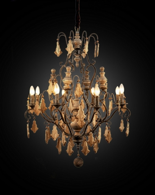 A Beautiful French Country Baroque Wrought Iron Chandelier | 43L x 32dia. Handcrafted Reproduction | Provincial Wooden Accent Finials and Pendants