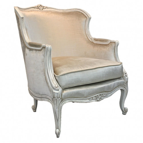 A Du Barry Louis XV - 39.5 Inch Handcrafted Reproduction French Bergere Arm Chair - Velvet Upholstery 053 - White Painted Luxurie Furniture Finish JWI