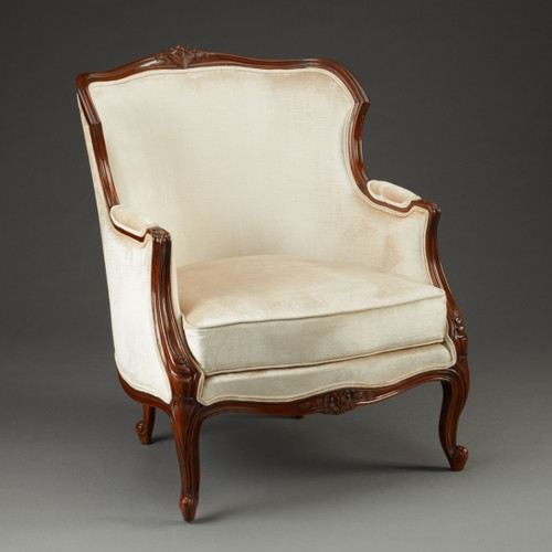 A Du Barry Louis XV - 39.5 Inch Handcrafted Reproduction French Bergere Arm Chair - Velvet Upholstery 053 - Walnut Luxurie Furniture Finish NWN