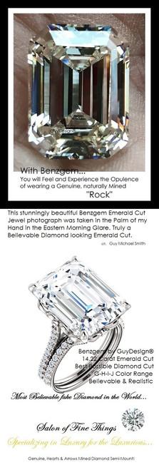 14.22 Benzgem by GuyDesign®, G-H-I-J, Color, 14.22 Carat Krupp Cut-Emerald Shape, Best Alternative Diamond with H&A Mined Diamond Semi-Mount, Louis XIV Baroque Scroll Solitaire Ring, 18 Karat White Gold, 6599