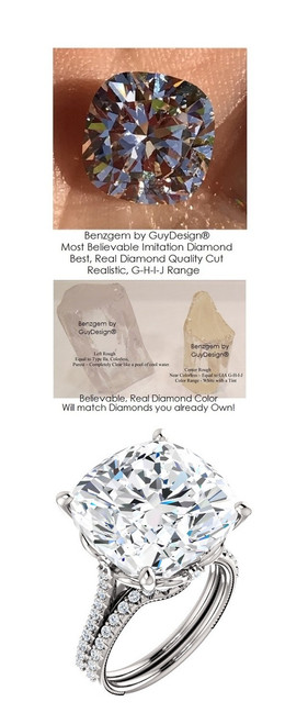 12.89 Benzgem by GuyDesign® World's Most Perfect faux, paste Diamond, G-H-I-J Color 12.89 Carat Cushion Cut, Fantasy Diamond with Natural Diamond Semi-Mount, Louis XIV Baroque Scroll Solitaire Ring, 18K Palladium White Gold, 6611