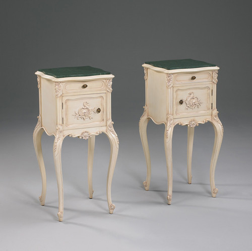 The Queen of Versailles Marie Leszezynska - French Rococo Period Louis XV - 35 Inch Handcrafted Reproduction Nightstand Right Opening - White Painted Luxurie Furniture Finish PWH and Marble Top