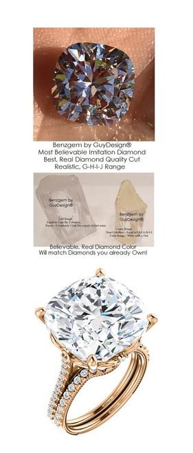 12.89 Benzgem by GuyDesign® World's Most Perfect artificial Diamond, ersatz Diamond, G-H-I-J Color 12.89 Carat Cushion Cut, Fantasy Diamond with Natural Diamond Semi-Mount, Louis XIV Baroque Scroll Solitaire Ring, 18K Rose Gold, 6623