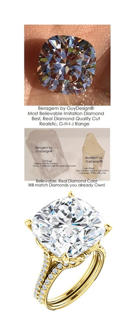12.89 Benzgem by GuyDesign® World's Most Perfect Diamond copy, replica, G-H-I-J Color 12.89 Carat Cushion Cut, Fantasy Diamond with Natural Diamond Semi-Mount, Louis XIV Baroque Scroll Solitaire Ring, 18K Yellow Gold, 6624