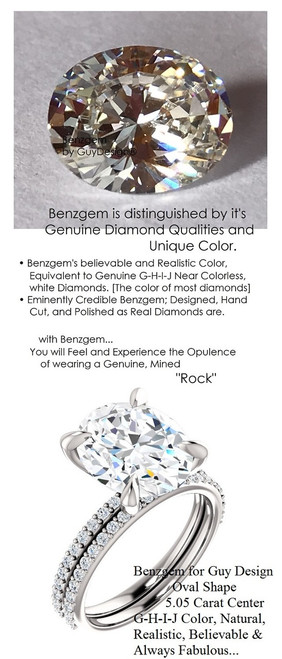 5.05 Benzgem by GuyDesign® Luxury 05.05 Carat Oval Shape Fantasy Diamond with Natural Diamond Semi-Mount, Near Colorless, White, Faintest Yellow Tint, G-H-I-J, Best Faux Diamond, Contemporary Elegance Engagement Ring, Platinum, 6634