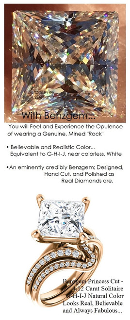 3.81 Benzgem by GuyDesign® Luxury 3.81 Carat Princess Cut Fantasy Diamond Natural Diamond Semi-Mount, White, Faintest Yellow Tint, G-H-I-J, Best Artificial Diamond, Classic Bypass Solitaire Engagement Ring, 18 Karat Rose Gold, 6636