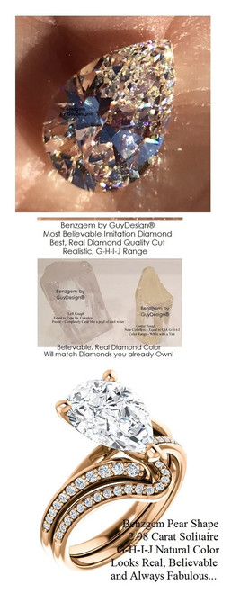 2.98 Benzgem by GuyDesign® Luxury 02.98 Carat Pear Shape Fantasy Diamond Natural Diamond Semi-Mount, White, Faintest Yellow Tint, G-H-I-J, Best Artificial Diamond, Classic Bypass Solitaire Engagement Ring, 18 Karat Rose Gold, 6637