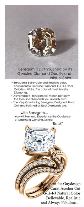3.50 Benzgem by GuyDesign® Luxury 03.50 Carat Square Asscher Fantasy Diamond Natural Diamond Semi-Mount, White, Faintest Yellow Tint, G-H-I-J, Best Artificial Diamond, Classic Bypass Solitaire Engagement Ring, 18 Karat Rose Gold, 6638