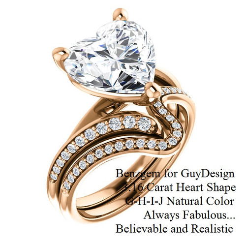 3.16 Benzgem by GuyDesign® Luxury 03.16 Carat Heart Shape Fantasy Diamond Natural Diamond Semi-Mount, White, Faintest Yellow Tint, G-H-I-J, Best Artificial Diamond, Classic Bypass Solitaire Engagement Ring, 18 Karat Rose Gold, 6643