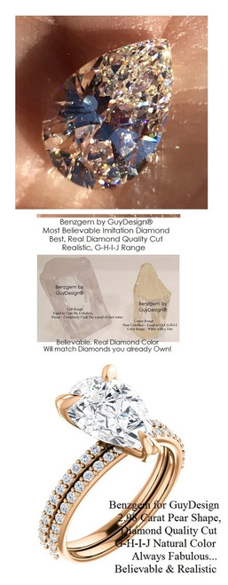 2.98 Benzgem by GuyDesign® White, Faintest Yellow Tint, G-H-I-J, Best Artificial Diamond, Luxurious 02.98 Carat Pear Shape, Fantasy Diamond with Natural Diamond Semi-Mount, Contemporary Elegance Engagement Ring, 18 Karat Rose Gold, 6651