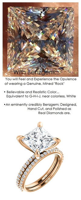 3.81 Benzgem by GuyDesign® White, Faintest Yellow Tint, G-H-I-J, Best Artificial Diamond, Luxurious 04.12 Carat Quadrillion, Princess Cut, Fantasy Diamond with Natural Diamond Semi-Mount, Contemporary Elegance Engagement Ring, 18 Karat Rose Gold, |