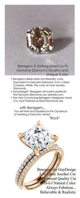 3.50 Benzgem by GuyDesign® White, Faintest Yellow Tint, G-H-I-J, Best Artificial Diamond, Luxurious 03.50 Carat Square Asscher Cut, Fantasy Diamond with Natural Diamond Semi-Mount, Contemporary Elegance Engagement Ring, 18 Karat Rose Gold, 6653