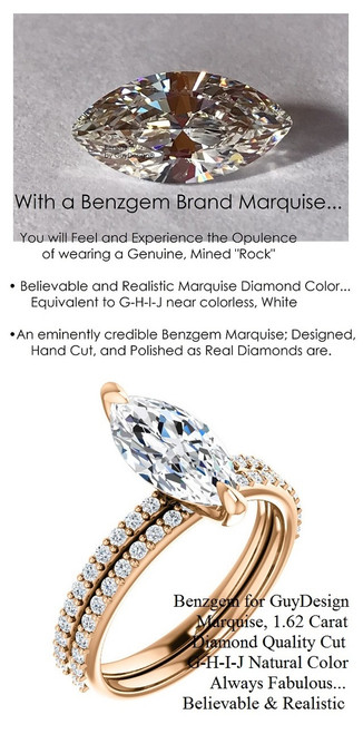 1.59 Benzgem by GuyDesign® White, Faintest Yellow Tint, G-H-I-J, Best Artificial Diamond, Luxurious 01.62 Carat Marquise Shape, Fantasy Diamond with Natural Diamond Semi-Mount, Contemporary Elegance Engagement Ring, 18 Karat Rose Gold, 6655