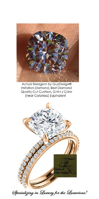3.21 Ct. Hand Cut Antique Square Cushion Cut Benzgem: Best G-H-I-J Diamond Quality Color Imitation; GuyDesign® Contemporary Elegance Mined Diamond encrusted Engagement Ring: Fine 18k Rose Gold Custom Jewelry - 6657