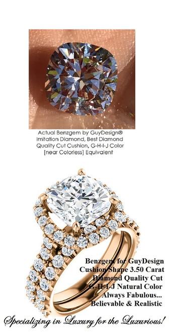 3.50 Benzgem by GuyDesign® White, Faintest Yellow Tint, G-H-I-J, Best Paste Diamond, Luxurious 03.50 Carat Cushion Cut, Fantasy Diamond with Natural Diamond Semi-Mount, Best Halo Design Right Hand Ring, 18 Karat Rose Gold, 6662