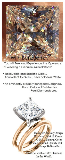 4.12 Benzgem by GuyDesign® G-H-I-J Natural Color, Most Believable fake Diamond in the World, Luxurious 04.12 Carat Princess Cut Dream Diamond, Classic Tiffany Solitaire Ring, 18 Karat Rose & White Gold, 6683