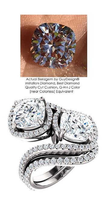 2.50 Benzgem by GuyDesign® 02.50 Carat Cushion Shape Fantasy Diamond, Diamond White, Cream Tint, G-H-I-J Color, Most Believable Fake Diamond, Natural G-H Color VS Clarity Diamond Semi-Mount, Bypass délegance Double Solitaire Ring, Platinum, 6691