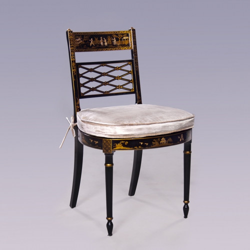 A Chinoiserie Chinese Style - 35.5 Inch Handcrafted Handpainted Side Chair - Luxurie Furniture Finish Ebony Black EBN - Velvet Upholstery 053
