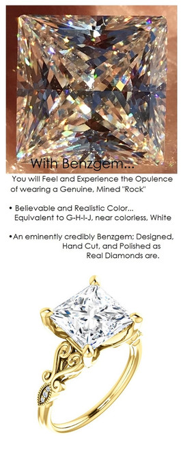3.81 Benzgem by GuyDesign® 3.81 Carat Quadrillion Princess Fantasy Diamond, Diamond White, Cream Tint, G-H-I-J Color, Most Believable Fake Diamond, Natural G-H Color SI1 Clarity Diamond Semi-Mount, Unnamed Collection Ring, 18K Yellow Gold, 6696