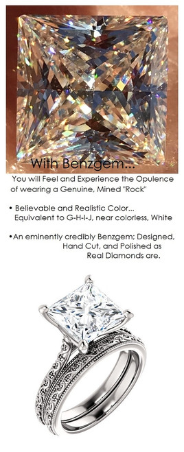 3.81 Benzgem by GuyDesign® 3.81 Carat Quadrillion Princess Fantasy Diamond, Diamond White, Cream Tint, G-H-I-J Color, Most Believable Fake Diamond, Unnamed Collection Solitaire Ring, Platinum, 6697