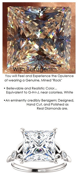 3.81 Benzgem by GuyDesign® 03.81 Carat Quadrillion Princess Fantasy Diamonds, Diamond White, Cream Tint, G-H-I-J Color, Most Believable Fake Diamond, Natural G-H Color VS Clarity Diamond Semi-Mount, Unnamed Collection Solitaire Ring, Platinum, 6700