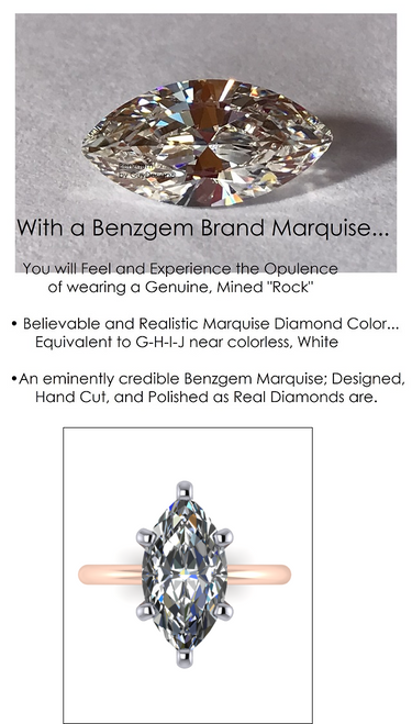 5.08 Benzgem by GuyDesign®, Most Believable fake Diamond in the World, Custom 05.08 Carat Marquise Cut Dream Diamond, Classic Tiffany Solitaire Ring, 18 Karat Rose & Platinum, 6702