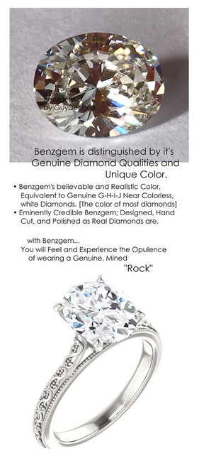 2.66 Benzgem by GuyDesign®, 02.66 Carat Oval Shape Jewelry Sample, Size 7, Tarnish Resistant Silver 6704-123063
