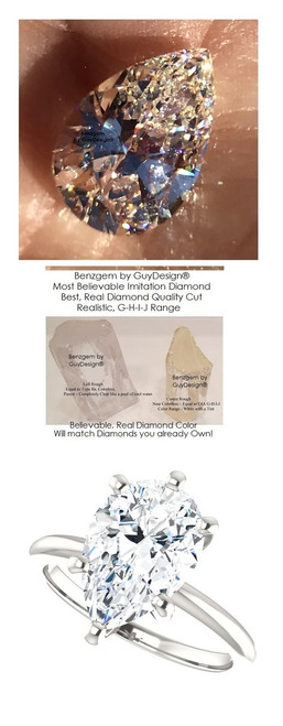 2.85 Benzgem by GuyDesign®, 02.85 Carat Pear Shape Jewelry Sample, Size 7, Tarnish Resistant Silver 6707-123213