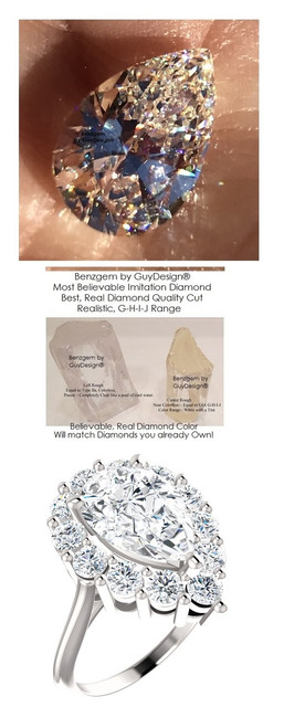 Princess Diana Ring/Natural G-H, VS 1.20 Carat Diamond Semi-Mount/2.98 Carat Pear Shaped Artificial Diamond/Most Believable and Realistic Benzgem by GuyDesign®/Platinum Ring/6719