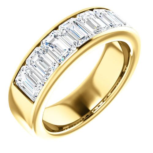 4.20 GuyDesign® 7x.60ct= 04.20 Carat Emerald Shape Important Diamond Men's Channel Set 18K Yellow Gold Band Ring 6722, G-H-I Color VS Clarity 4.20 Carat Diamonds