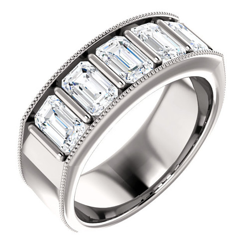 3.75 GuyDesign® 5x.75ct= 03.75 Carat Emerald Shape Important Diamond Men's Bar Set Band Ring, G-H-I Color VS Clarity 3.75 Carat Diamonds TW. Band Ring, Platinum, 6717