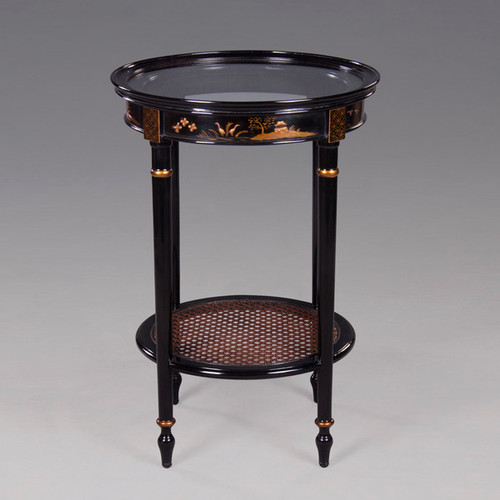 A Chinoiserie Chinese Style - 27 Inch Handcrafted Handpainted End | Side | Lamp Table - Luxurie Furniture Finish Ebony Black EBN with Gold Trim