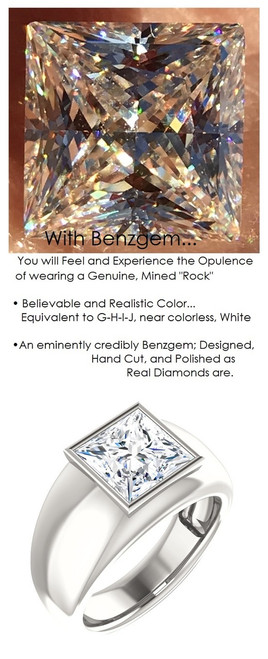 3.81 Benzgem by GuyDesign®, 03.81 Carat Quadrillion, Princess Cut Men's Jewelry Sample, size 11, Tarnish Resistant Silver 6732-2979