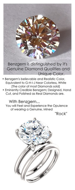 6.42 Benzgem by GuyDesign® 12x12mm= 06.42 ct. Hearts & Arrows Round Shape, Believable G-H-I-J Natural Color Fantasy Diamond, 18K White Gold; Ladies Classic Tiffany Ring 6749