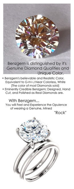 4.95 Benzgem by GuyDesign® 11x11mm= 04.95 ct. Hearts & Arrows Round Shape, Believable G-H-I-J Natural Color Fantasy Diamond, 14K White Gold; Ladies Classic Tiffany Ring 6750