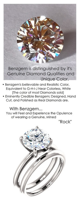 2.71 Benzgem by GuyDesign® 9x9mm= 02.71 ct. Hearts & Arrows Round Shape, Believable G-H-I-J Natural Color Fantasy Diamond, 14K White Gold; Ladies Classic Tiffany Ring 6752