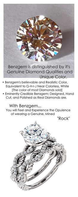 1.91 Benzgem by GuyDesign® 01.91 ct. Hearts & Arrows Round, Believable G-H-I-J Natural Color Fantasy Diamond, 14k White Gold Ladies Rope Diamond Braid Engagement Ring 6756, G-H Color, SI1 Clarity .20 Ct. Mined Diamond Semi-Mount