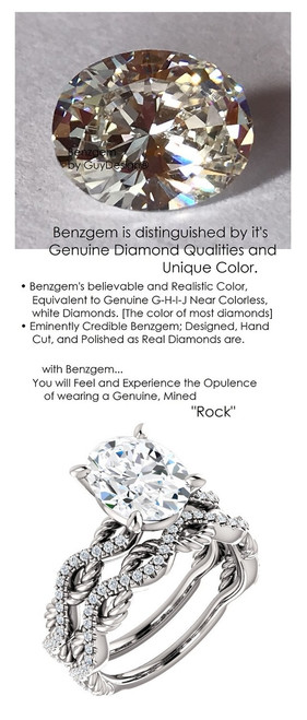 2.66 Benzgem by GuyDesign® 02.66 ct. Oval Brilliant Cut, Believable G-H-I-J Natural Color Fantasy Diamond, 14k White Gold Ladies Rope Diamond Braid Engagement Ring 6757, G-H Color, SI1 Clarity .19 Ct. Mined Diamond Semi-Mount