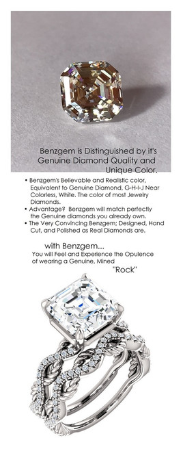 4.50 Benzgem by GuyDesign® 04.50 ct. Royal Asscher Cut, Most Believable G-H-I-J Natural Color Fake Diamond, 14k White Gold Ladies Rope Diamond Braid Engagement Ring 6759, G-H Color, SI1 Clarity .19 Ct. Mined Diamond Semi-Mount