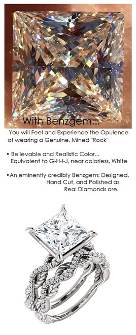 3.81 Benzgem by GuyDesign® 3.81 ct. Quadrillion Princess Cut, Most Believable G-H-I-J Natural Color Fake Diamond, 14k White Gold Ladies Rope Diamond Braid Engagement Ring 6760, G-H Color, SI1 Clarity .19 Ct. Mined Diamond Semi-Mount