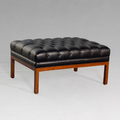 A Manhattan Modern - Contemporary - Art Deco - 31.5 Inch Handcrafted Bench | Ottoman - Hand Tufted Ebony Black Leather Upholstery 027B - Wood Stain Luxurie Furniture Finish MLSP