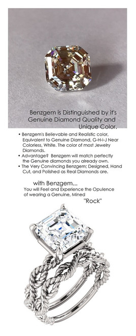 4.50 Benzgem by GuyDesign® Royal Asscher Shape Best Diamond Copy in the World; 04.50 ct. G-H-I-J Natural Color, 14k White Gold Braided Rope Engagement Ring 6772