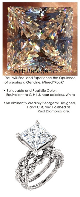 3.81 Benzgem by GuyDesign® Quadrillion Princess Shape Best Diamond Copy in the World; 3.81 ct. G-H-I-J Natural Color, 14k White Gold Braided Rope Engagement Ring 6773