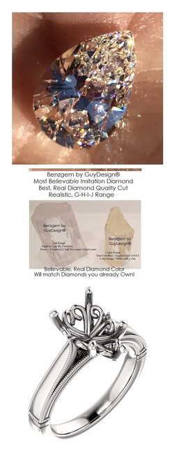 2.86 Brilliant Pear Diamond Cut, Best Diamond Copy in the World, 02.86 ct. I-J Natural Color, 14k White Simply Elegant Engagement Ring 6785, Benzgem by GuyDesign®
