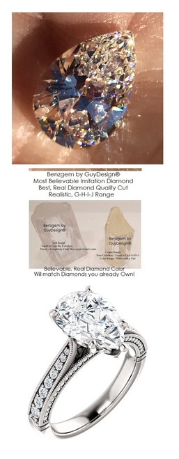 2.86 Brilliant Pear Diamond Cut, Best Diamond Copy in the World, 02.86 ct. G-H Natural Color, Diamond Semi-Mount G-H Color - SI1 Clarity, 14k White Simply Elegant Engagement Ring 6789, Benzgem by GuyDesign®