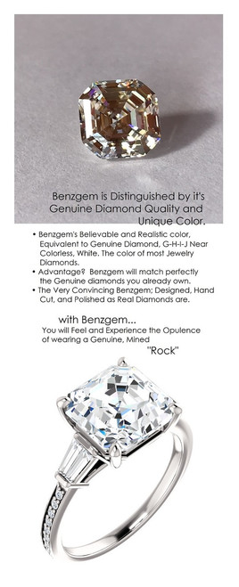 6.71 Benzgem by GuyDesign® Precise cut, Most Believable Simulated Asscher G-H Color Dream Diamond 06.71 ct. Mined Diamond Semi-Mount G-H-I Color VS Clarity, 14k White Gold Right Hand Ring 6790